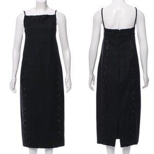 MaxMara Stripe Wool Beaded Square Neck Midi Dress